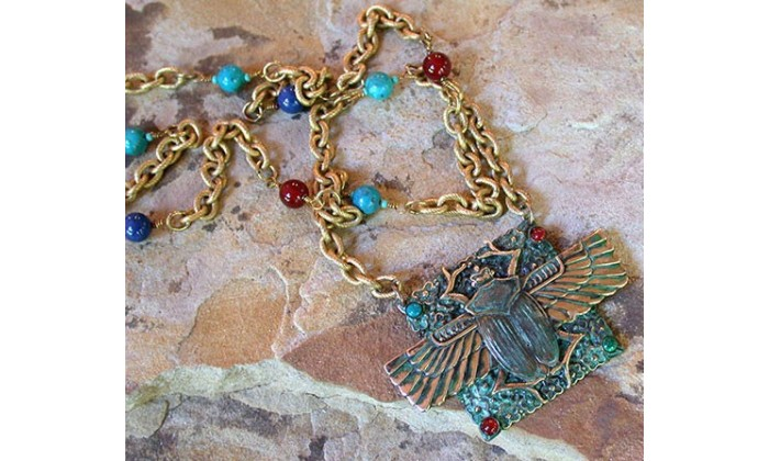 Ancient Egyptian Motif Wearable Art Necklaces designed by Elaine Coyne