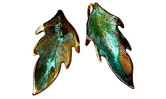 Leaves Earrings wearable art by Elaine Coyne