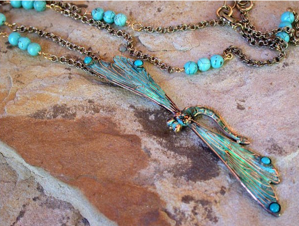 Long Dragonfly Necklace with Genuine Turquoise