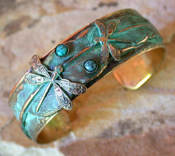 Patina Dragonflies on Feather Cuff - Turquoise